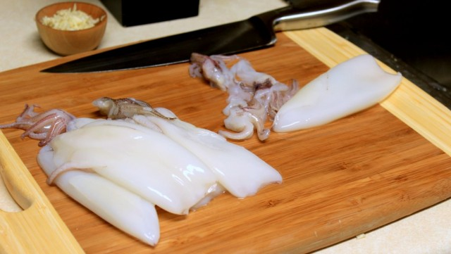 Prepping the squid