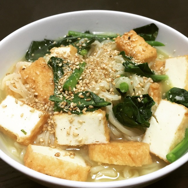 Sapporo Ichiban Shio Ramen with fish tofu and Chinese broccoli - a bit salty, but definitely a winner.