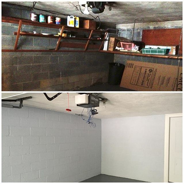 A little garage before and after: paint, opener+door, and a new door into the house.