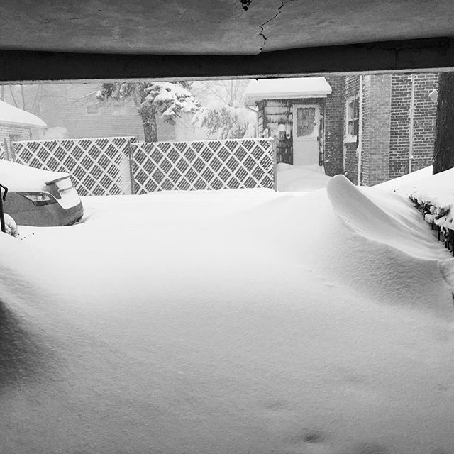 Trapped inside thanks to the snow. Solid 4-foot drifts and my street is plowed in at both ends.