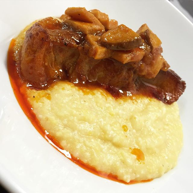 Last night's dinner: braised country style pork ribs with mushrooms and polenta.