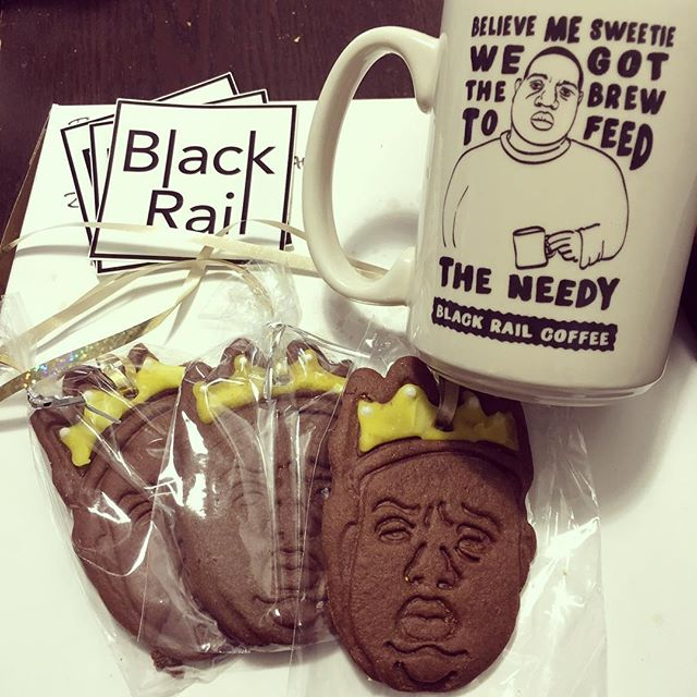 I choose my coffee shops based on availability of Biggie swag. @blackrailcoffee  #blackrailcoffee