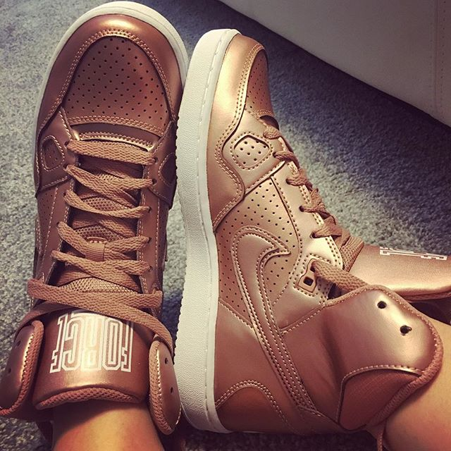 My brother-in-law's girlfriend got me rose gold high tops