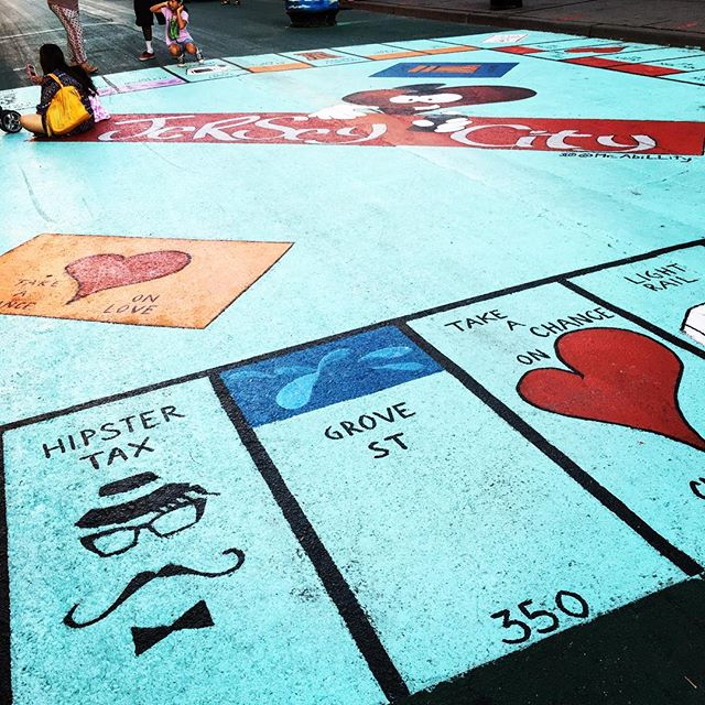 Newark Ave Pedestrian Plaza Monopoly board
