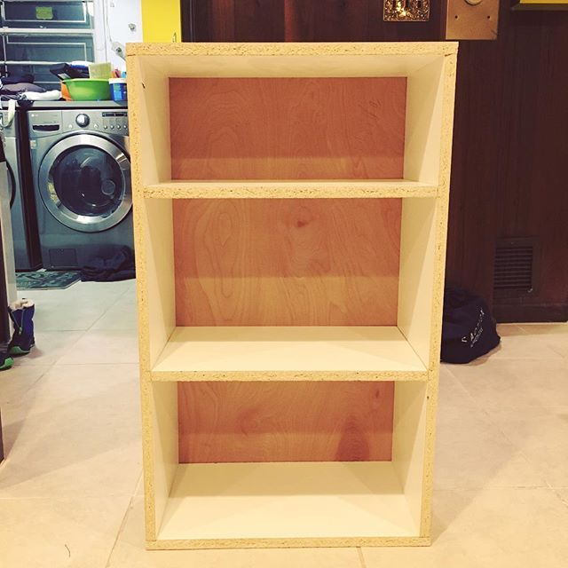 Made a bookcase to serve as a countertop support on one end. Edge banding still to come.