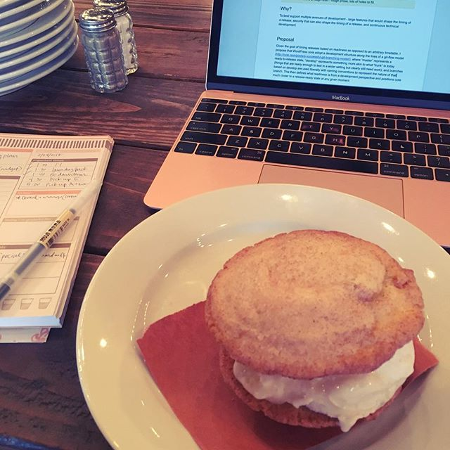 Working from a place that serves gelato sandwiches is a good Friday decision.