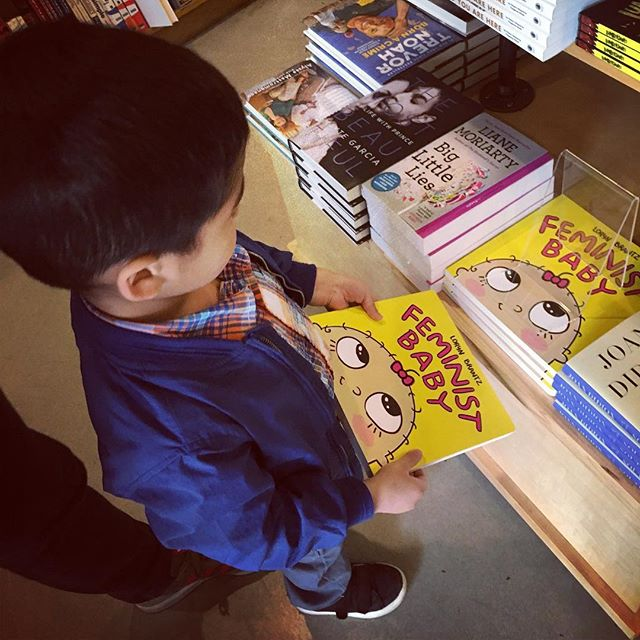 "When you take smalls to the book store and he immediately picks up ""Feminist Baby"""
