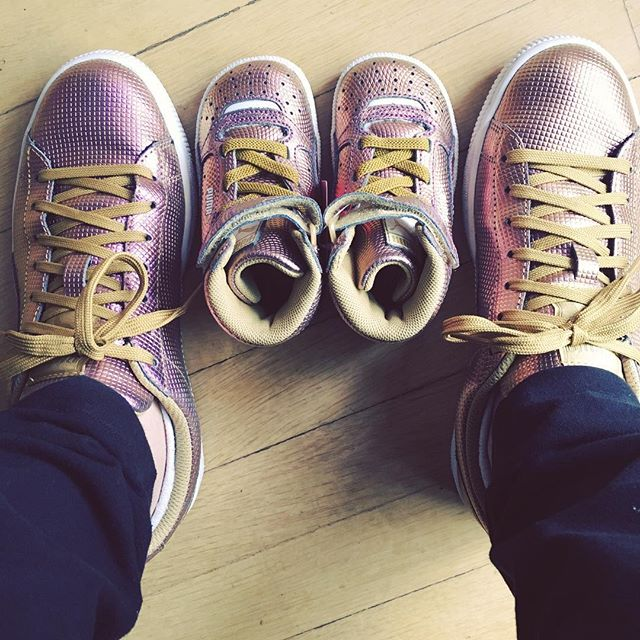 Never too early to start a mother-daughter shoe collection. That pink-gold holographic
