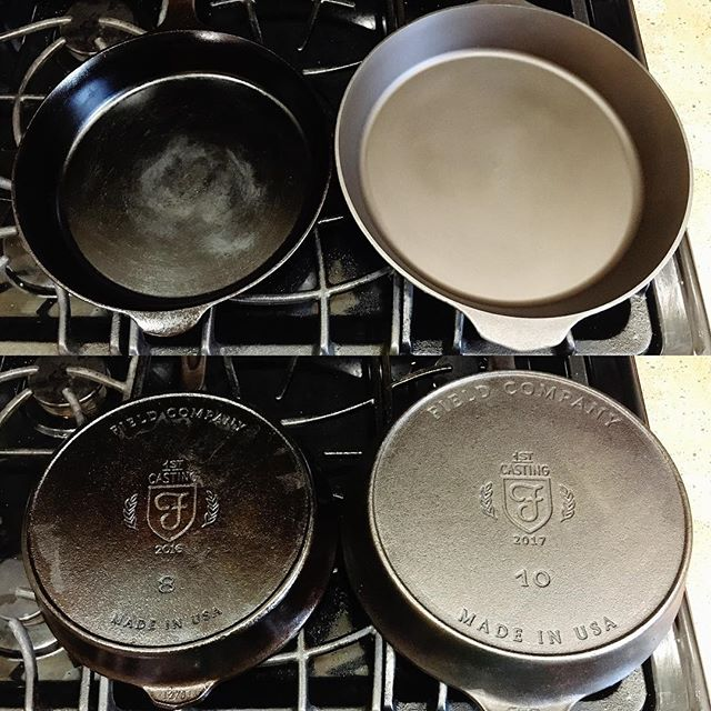 Pair of @fieldcompany skillets - can't wait for the new #10 to season up like my #8.