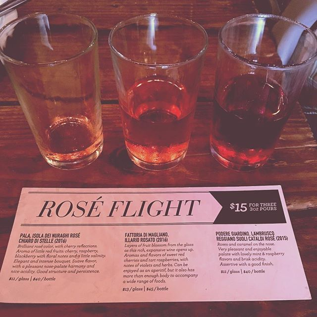 Rosé flight, served.