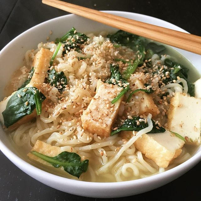Lunch today: Sapporo Ichiban Shio Ramen with fish tofu and spinach.