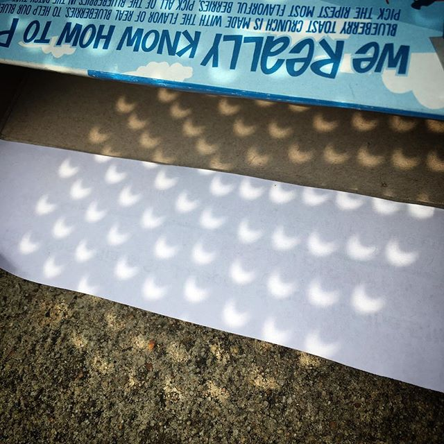 We made boxes and the glasses were cool but really a colander worked the best :) #eclipse