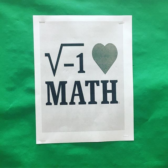 Imaginary to love math or an imaginary love of math? Both seem wrong for a pro-math bulletin board. 🤔