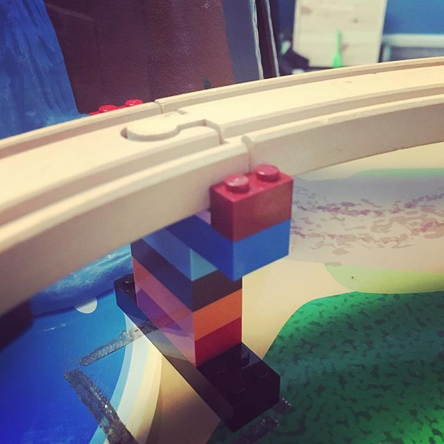 Momgineering: built a custom LEGO replacement for a missing train track bridge support.