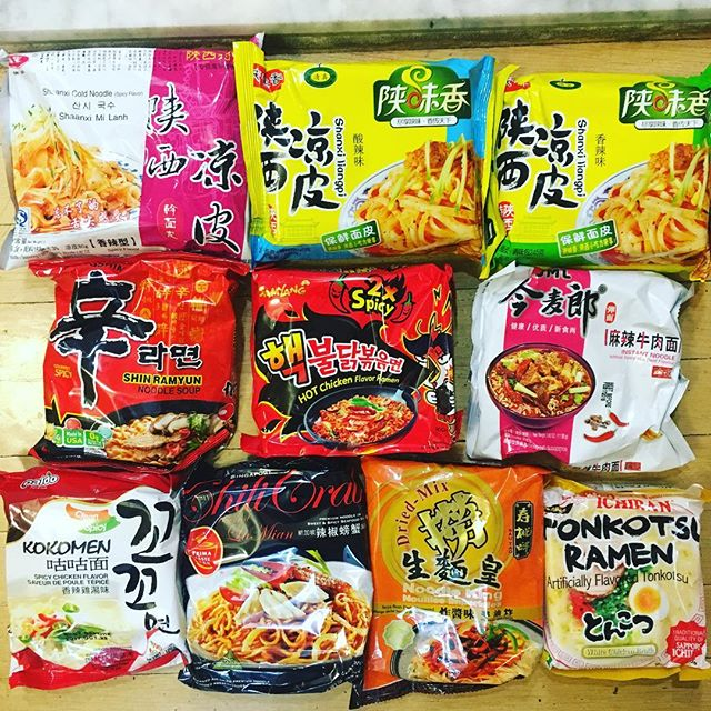 Not sure I should be proud of having this many varieties of packaged ramen in the house...