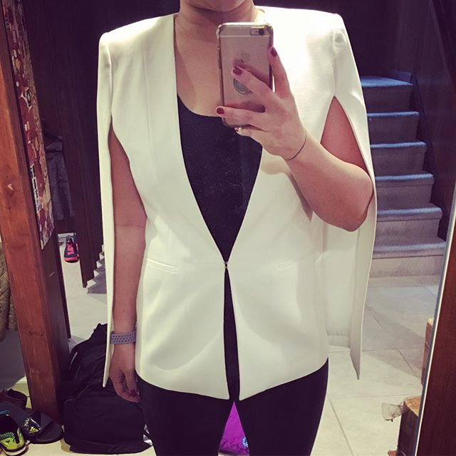 My one Thanksgiving sale acquisition was a white cape-blazer and I just want to wear it everywhere.