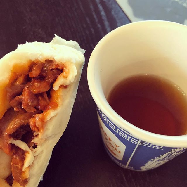 Today's Chinese American breakfast: 叉烧包 (roast pork bun) and barley tea.