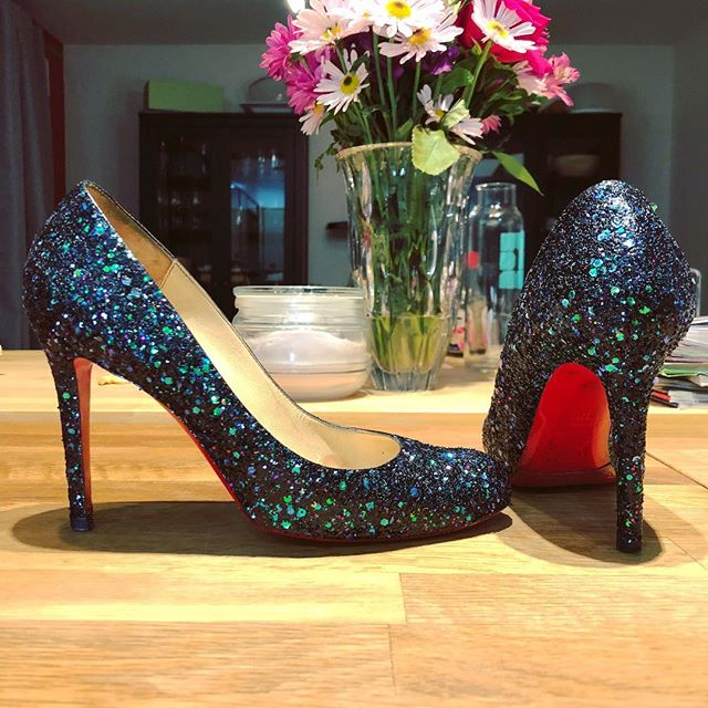 Very excited to have a pair of custom dragonfly-style glittered Loubs for all of $75! (Yes, I got a killer deal on these.) #christianlouboutin #louboutin