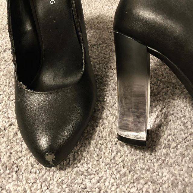 RIP, cheap but extremely fun black and Lucite pumps. You are why I don't let myself love crappy shoes anymore.
