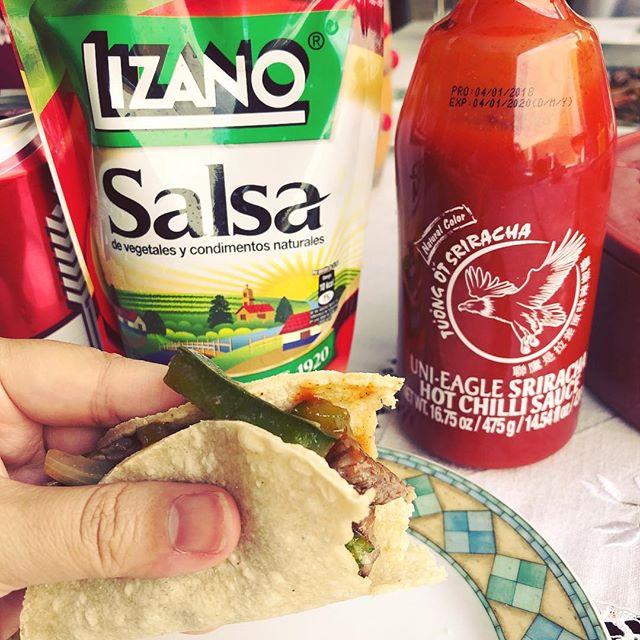 My kind of fusion home cooking: Salsa Lizano + sriracha on fajitas