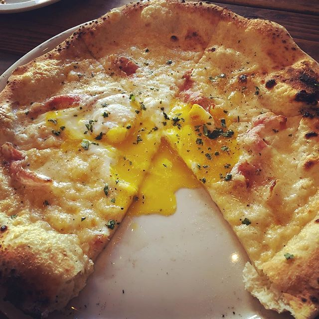 This carbonara pizza should come with an obscenity warning