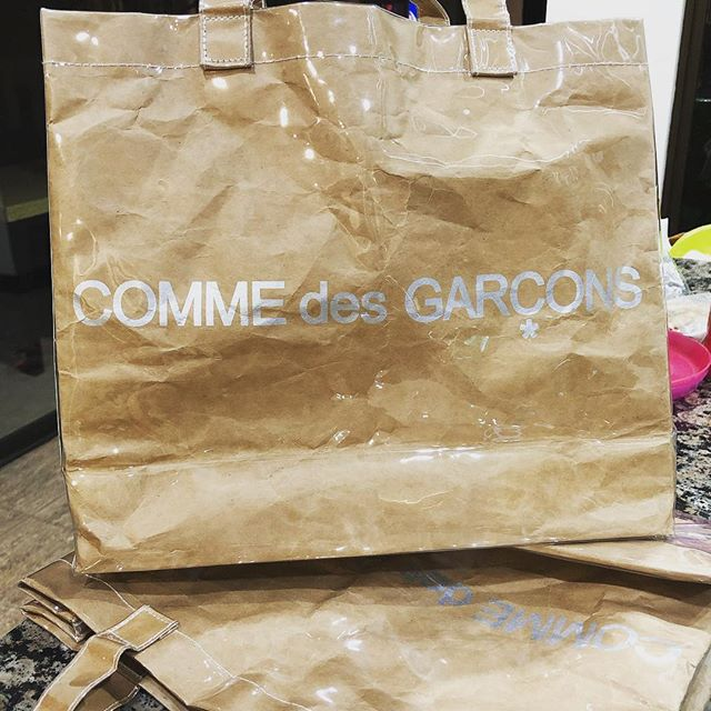 New fave object: these CDG paper-plastic bags. A whole new appreciation for the high-low-brow thing.