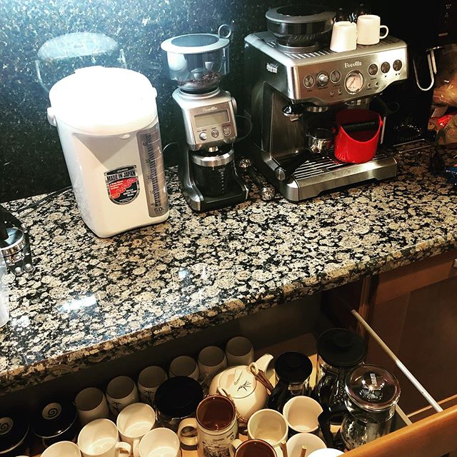 Most of the kitchen/dining is still a disaster and I don't even caffeinate regularly but it felt right to get the coffee (and tea and seltzer) station in order first.