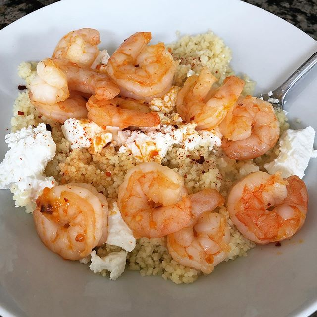 I think I'm addicted to this sriracha seasoning - today with couscous, goat cheese, and shrimp.