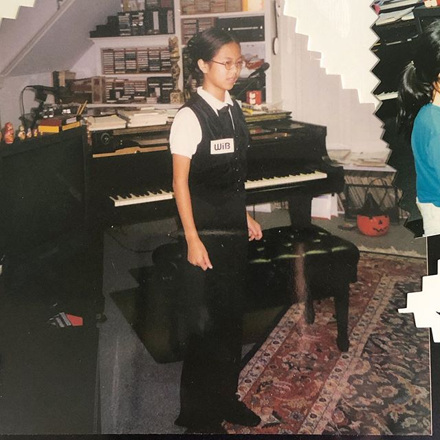 Digging through a scrapbook, forgot I had gone as a *Woman* in Black with corresponding badge for my piano teacher's Halloween recital. Middle school me is excited for Men in Black: International.