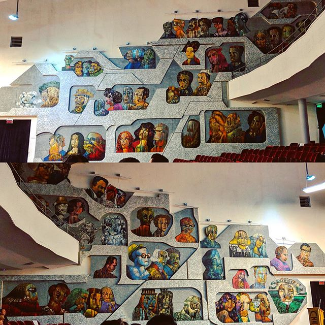 Loved this artwork in the hall at the Guatemalan National Music Conservatory - some very judgmental audience members in there! #latergram