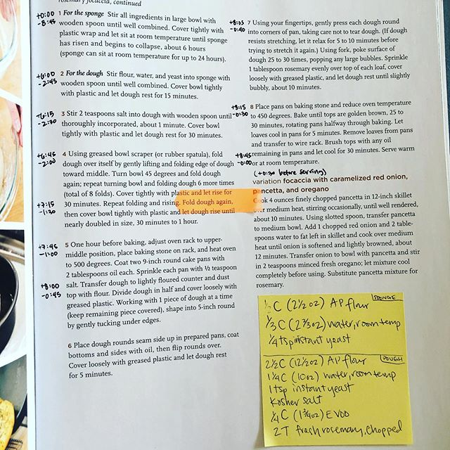 Cookbook hacking: sticky note with ingredients on steps page (major annoyance with this book's layout), add time elapsed and to completion for planning, and repositionable highlight pointer for steps with multiple long-running components.