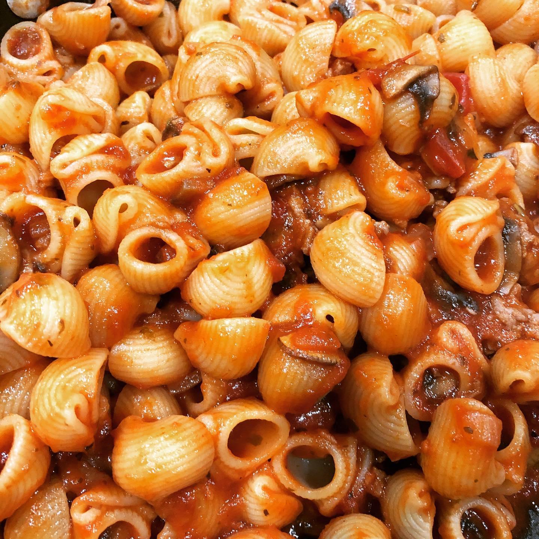 Quarantine meal 3: mushroom meat sauce with lumaconi (made a big batch of sauce to freeze)