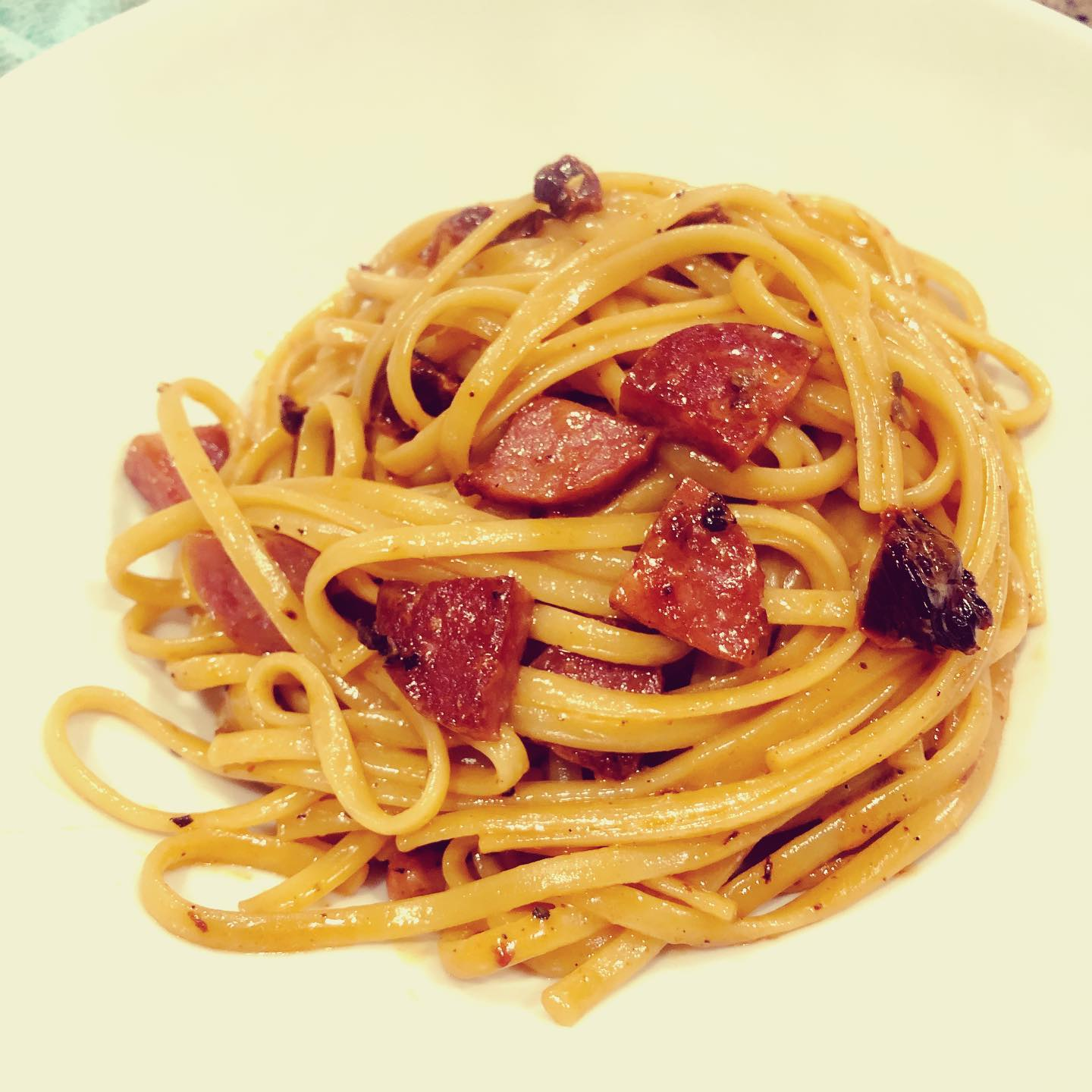 Quarantine meal 6: linguine with a sausage and sun-dried tomato cream sauce