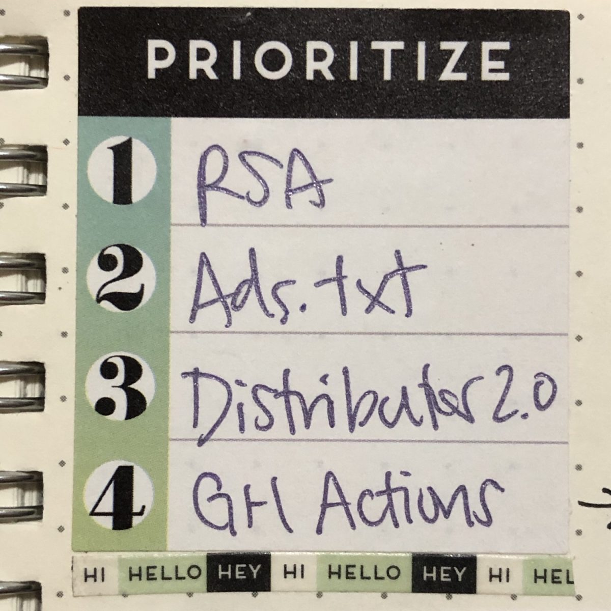 Top 4 priorities sticker
