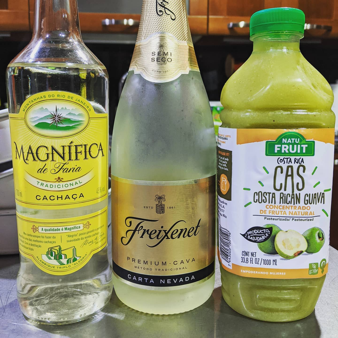 About to get wild with the quarantine drinks in here - cas, cachaça, and bubbly. How do y'all think this is gonna go?