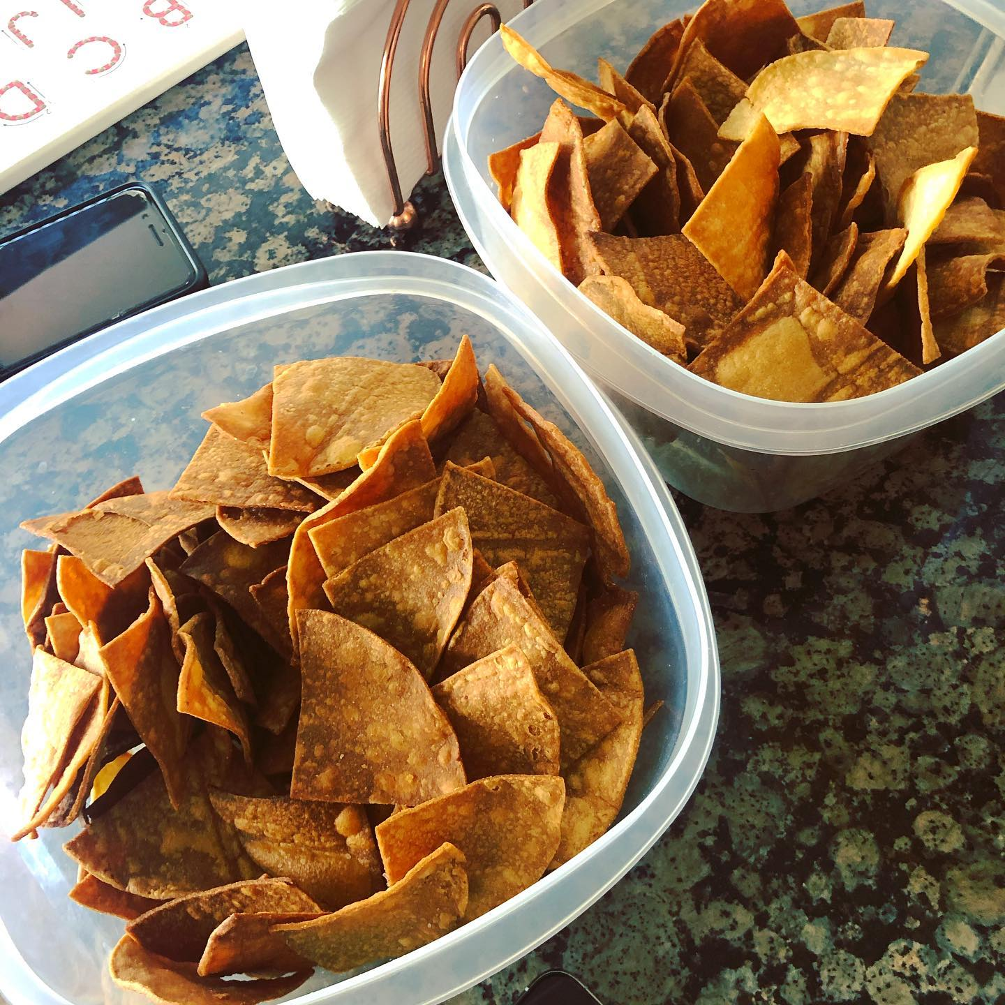 When you buy too many tortillas at Pricesmart (Costco) and have to turn them into tortilla chips, how sad.
